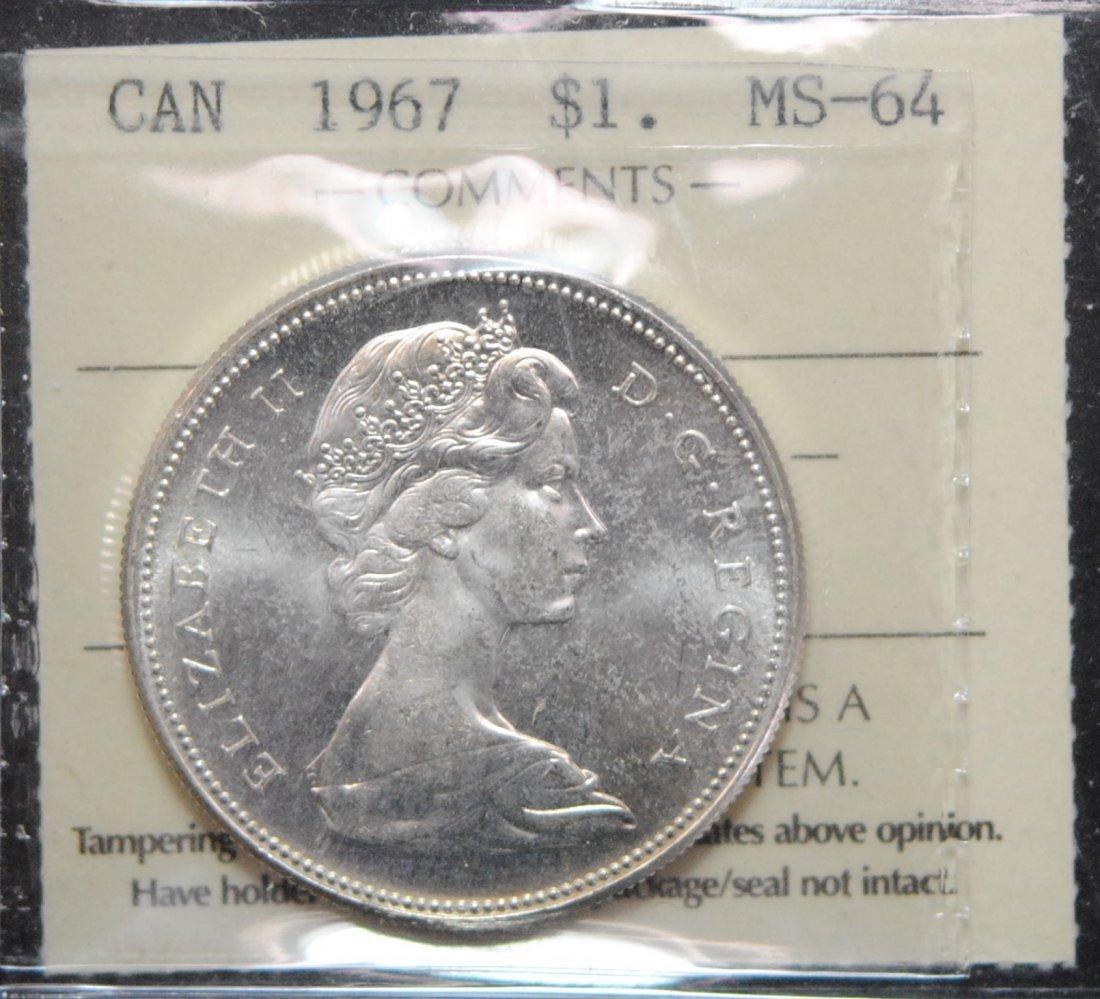 Canada 1967 Dollar ICCS MS64