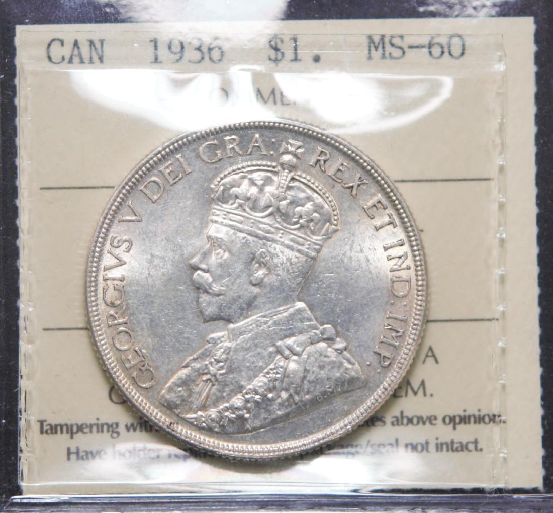 Canada 1936 Dollar ICCS MS60