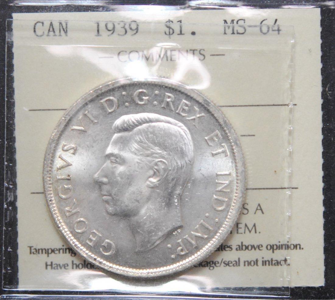 Canada 1939 Dollar ICCS MS64