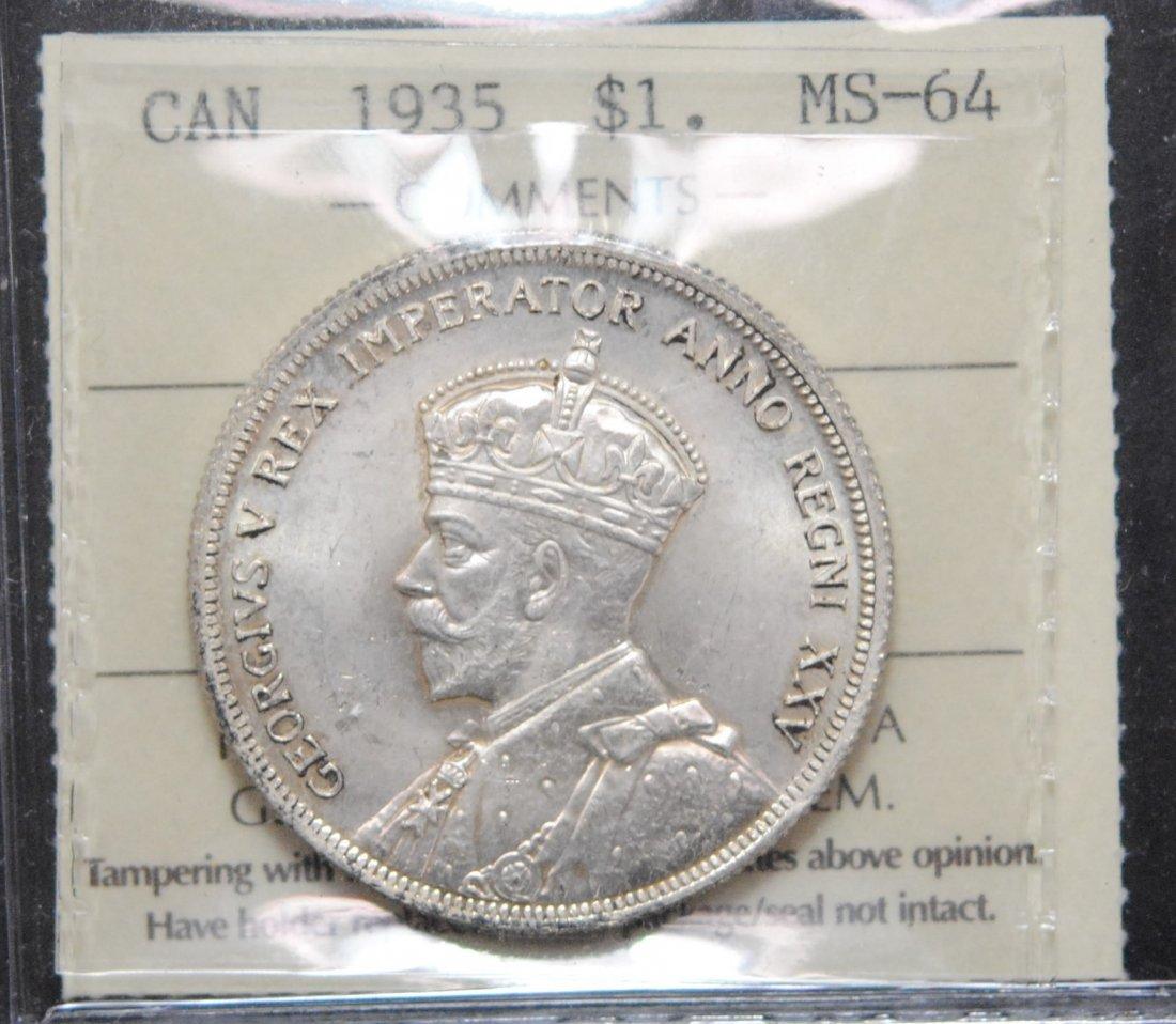Canada 1935 Dollar ICCS MS64