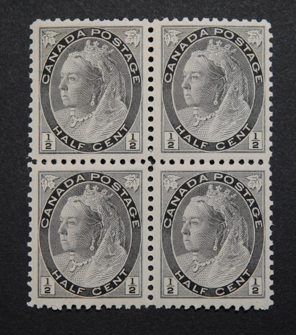 Canada 1898 1/2c Black Block of 4 VF MNH