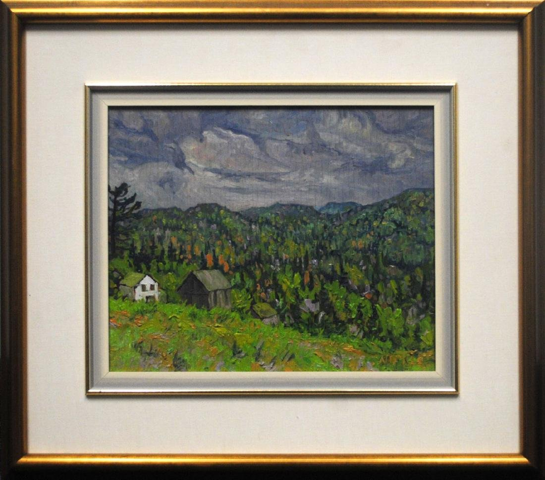 """Lawrence Nickle's """"Farm Buildings at The Gibbon Place"""""""