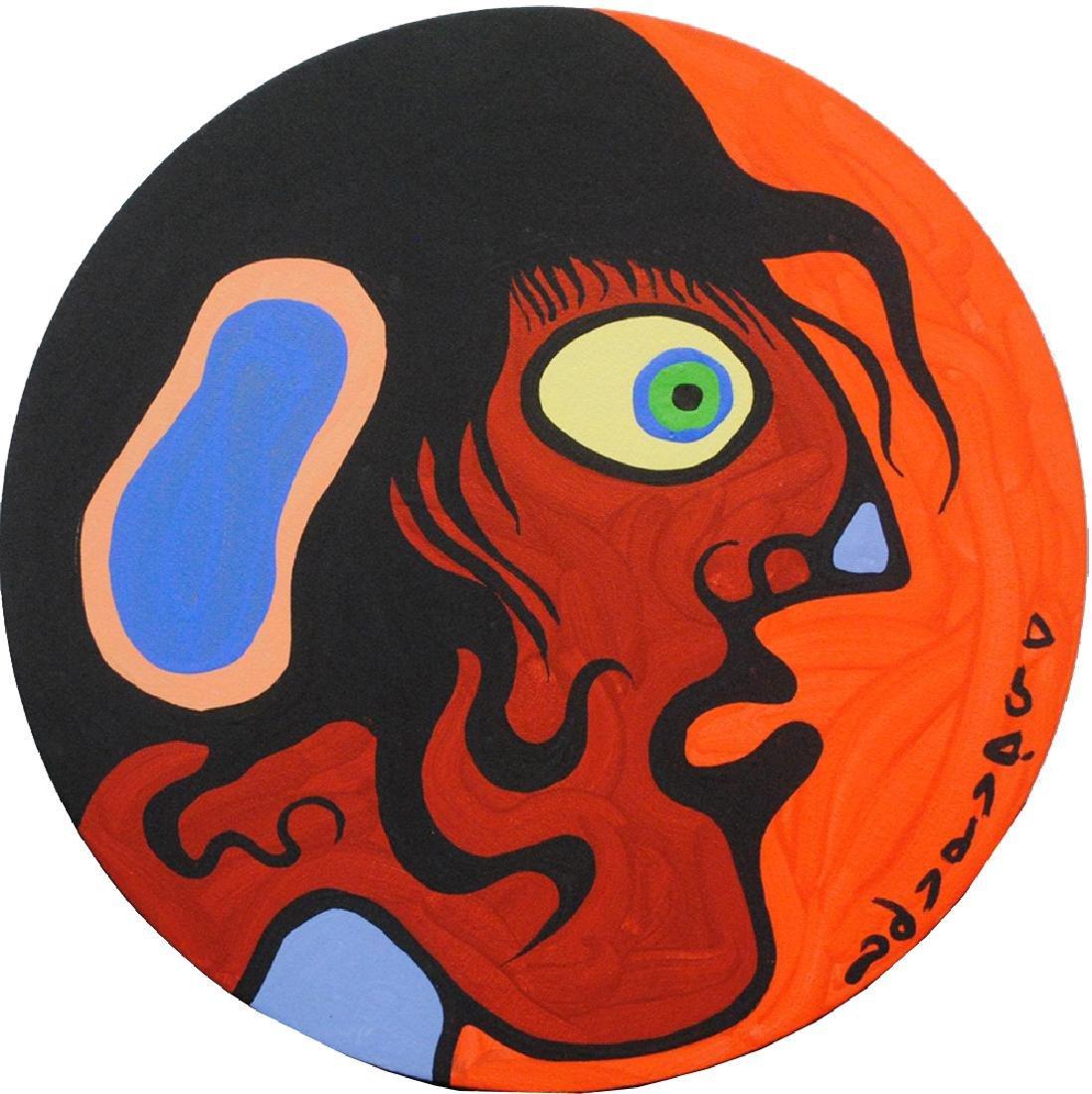 "Norval Morrisseau's ""Man Looks Right"" Original"