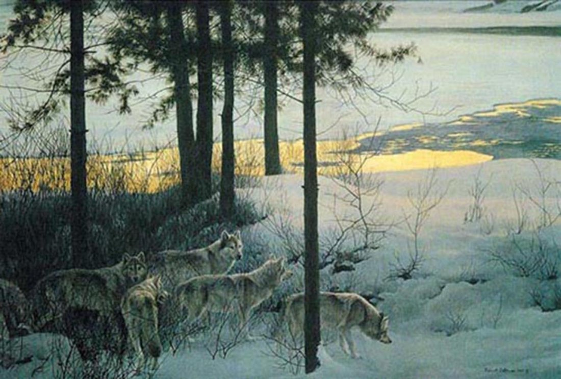 "Robert Bateman's ""Edge of Night - Timber Wolves"" Limite"