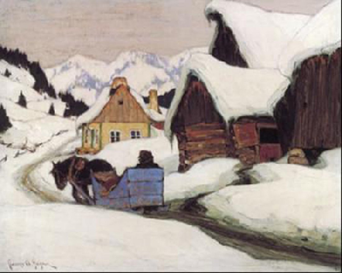 "Clarence Gagnon's ""Laurentian Homestead"" Giclee Canvas"