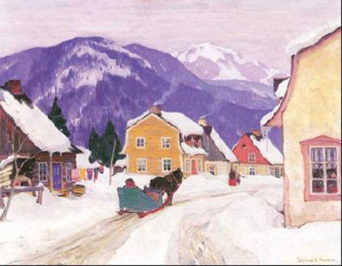 """Clarence Gagnon's """"Laurentian Village"""" Giclee Canvas"""
