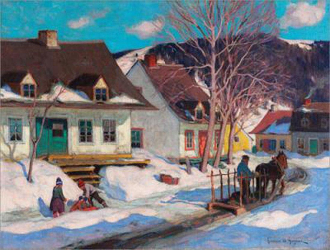"Clarence Gagnon's ""Quebec Village Street"" Giclee Canvas"