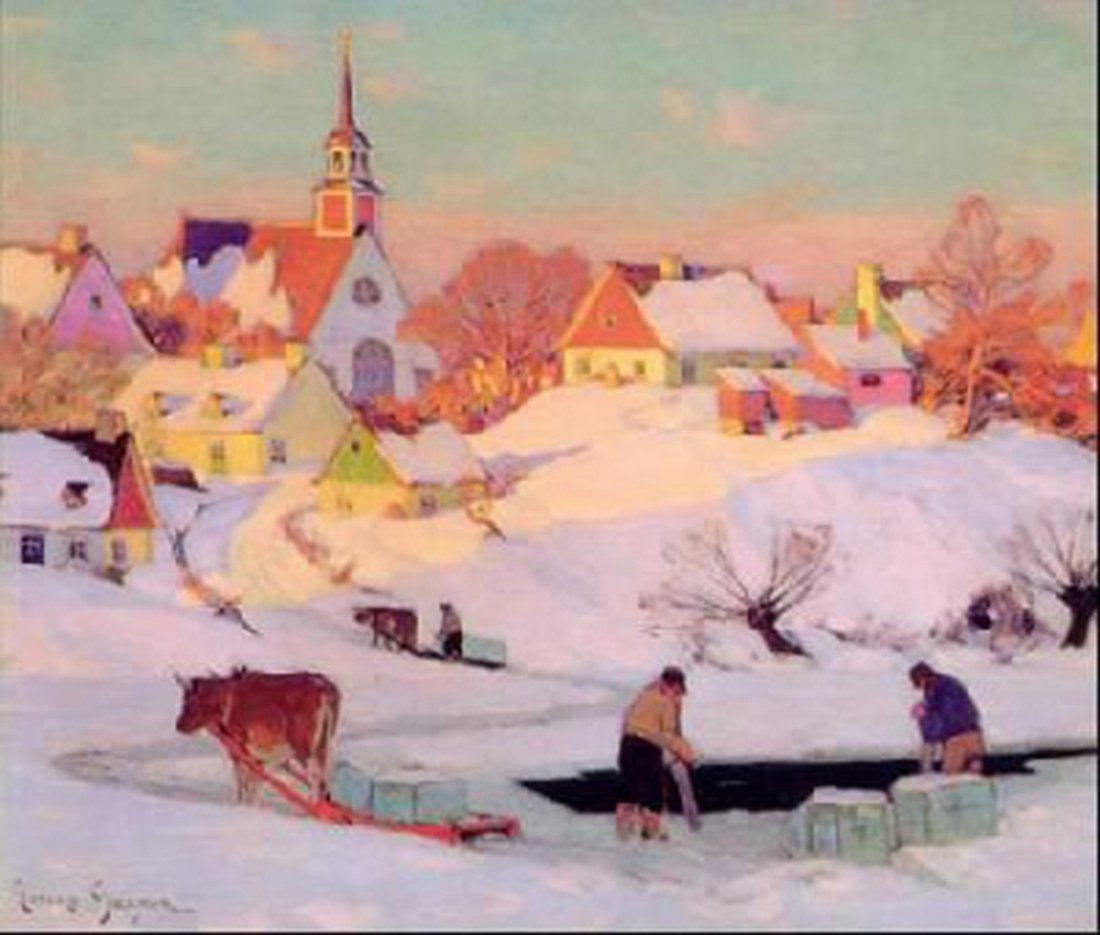 "Clarence Gagnon's ""The Ice Harvest"" Giclee Canvas"