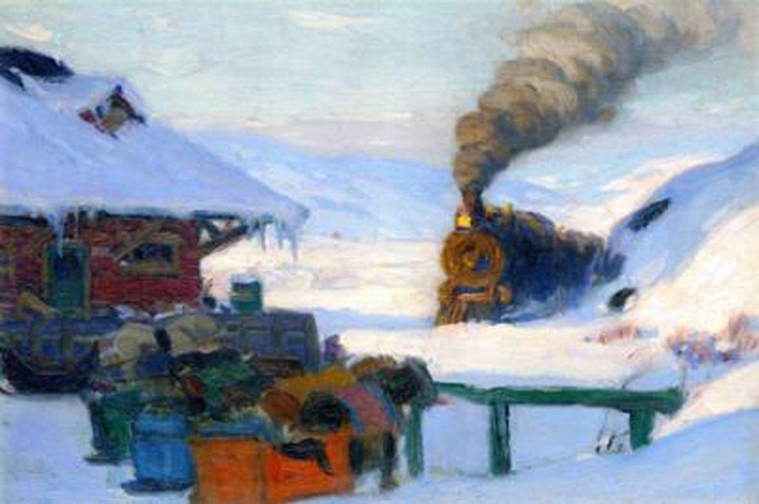 """Clarence Gagnon's """"The Train Baie Saint Paul"""" Giclee Ca"""