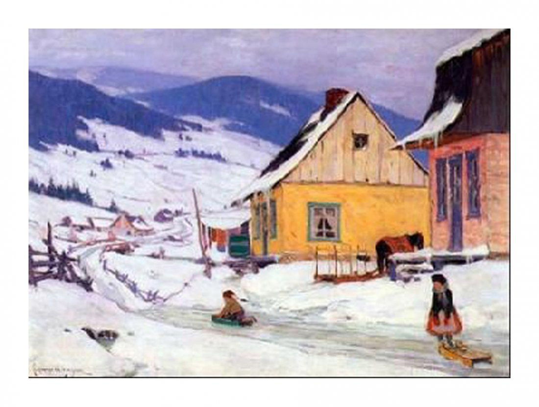 """Clarence Gagnon's """"The Yellow House"""" Giclee Canvas"""