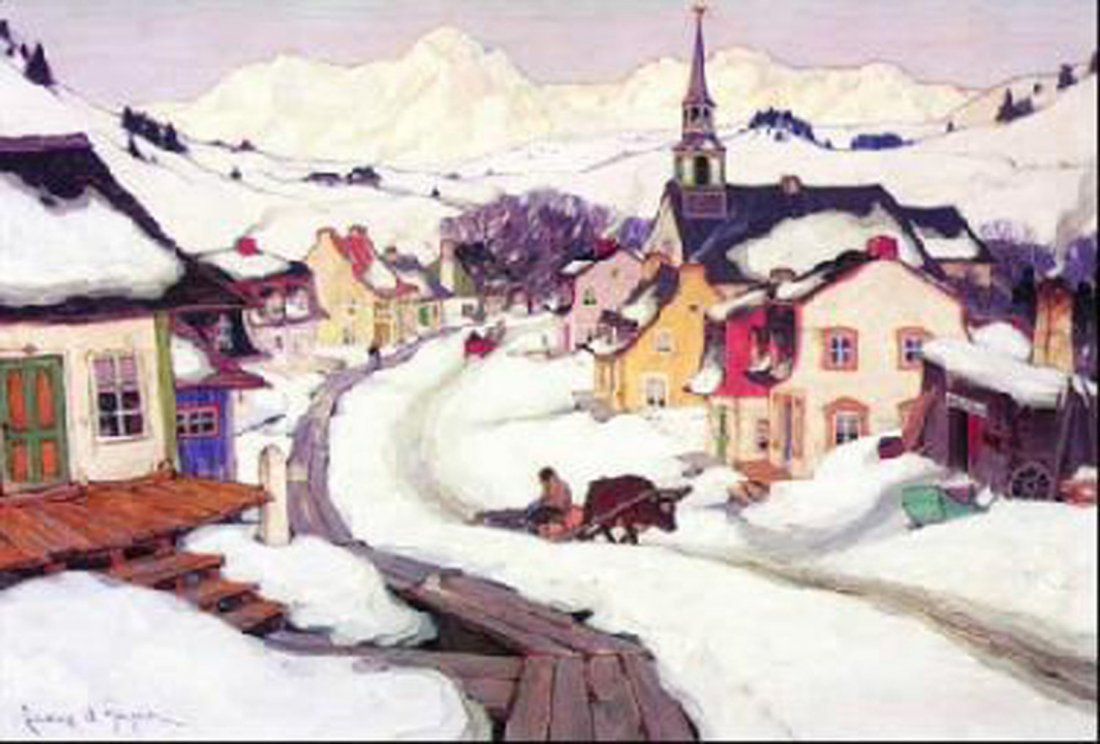 """Clarence Gagnon's """"Village In The Laurentians"""" Giclee"""