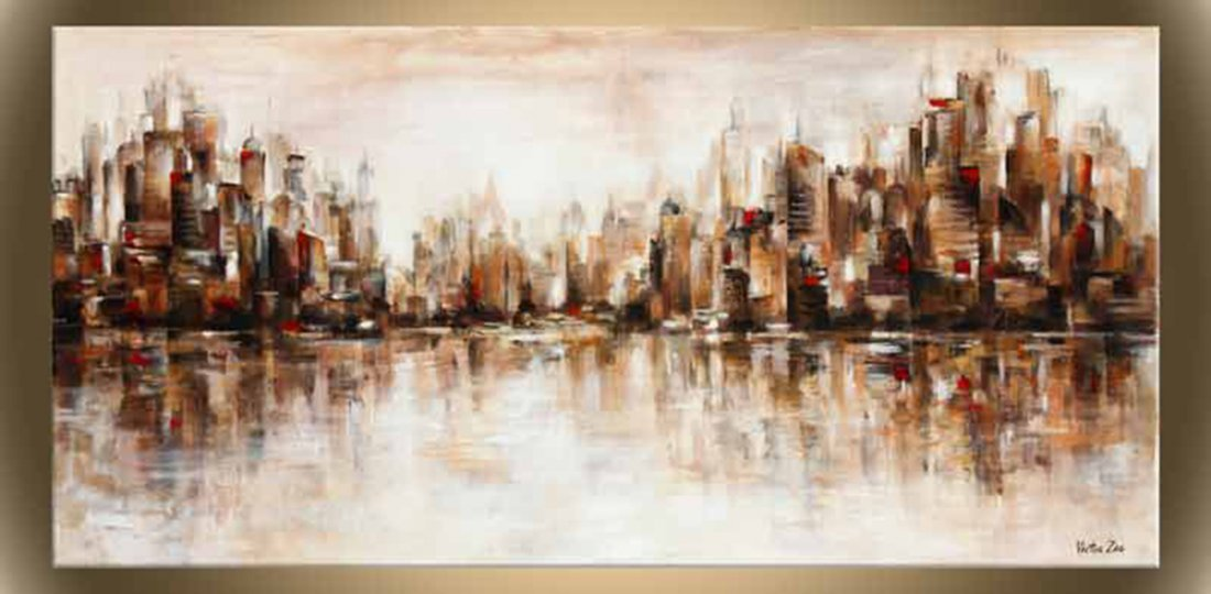"Victor Zag's ""City Reflections"" Giclee Canvas Cityscape"