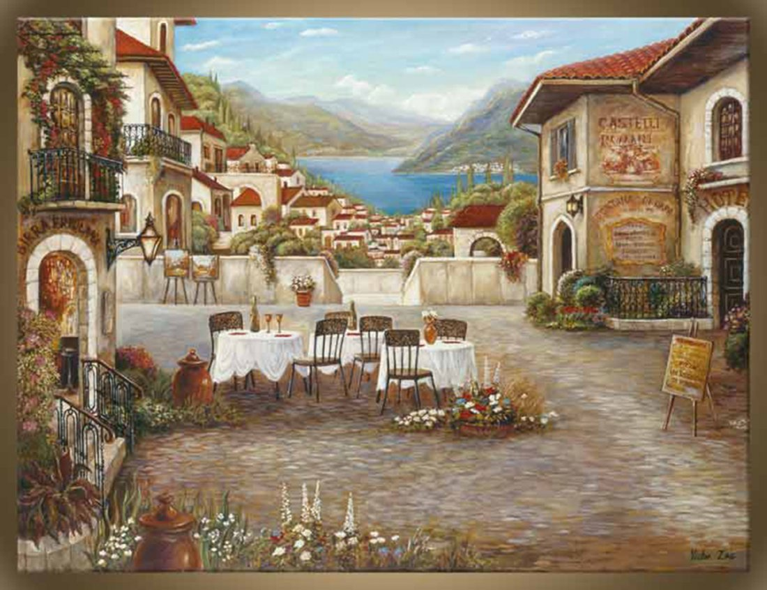 """Victor Zag's """"Dinner at Como"""" Canvas Reproduction"""