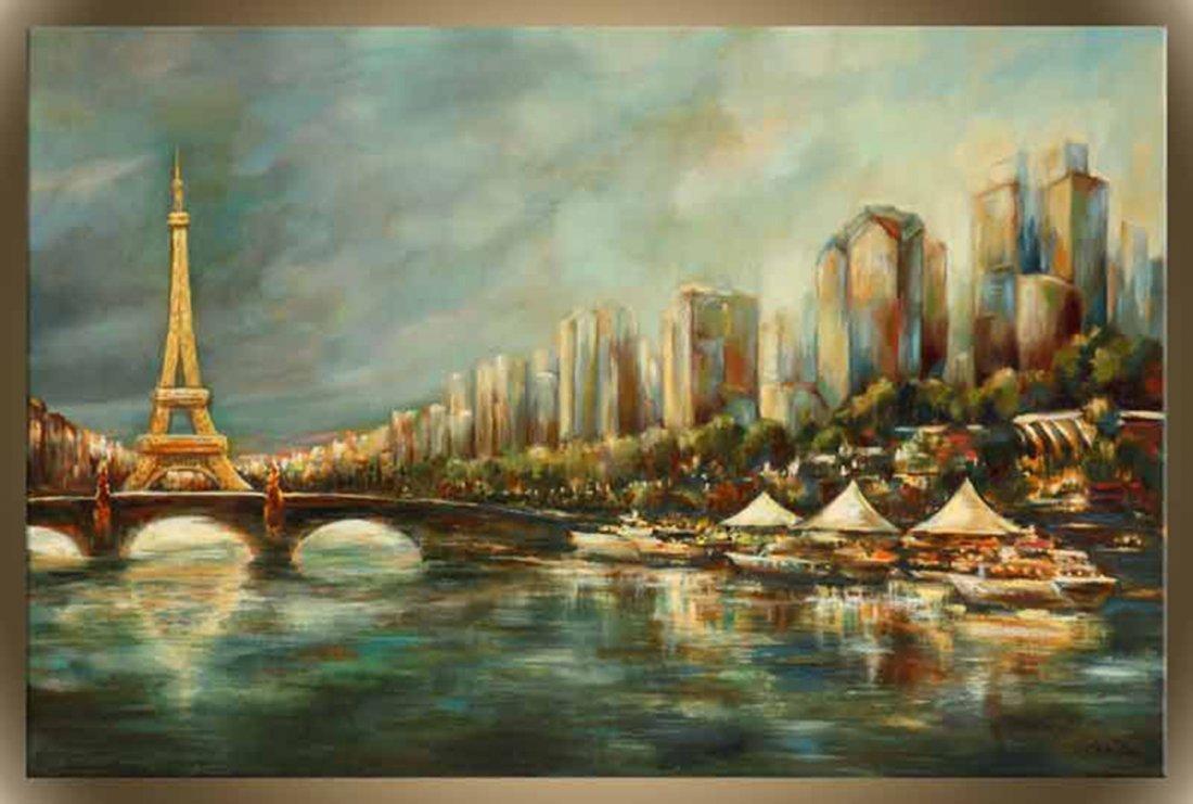 """Victor Zag's """"Paris a La Seine"""" Giclee Canvas"""