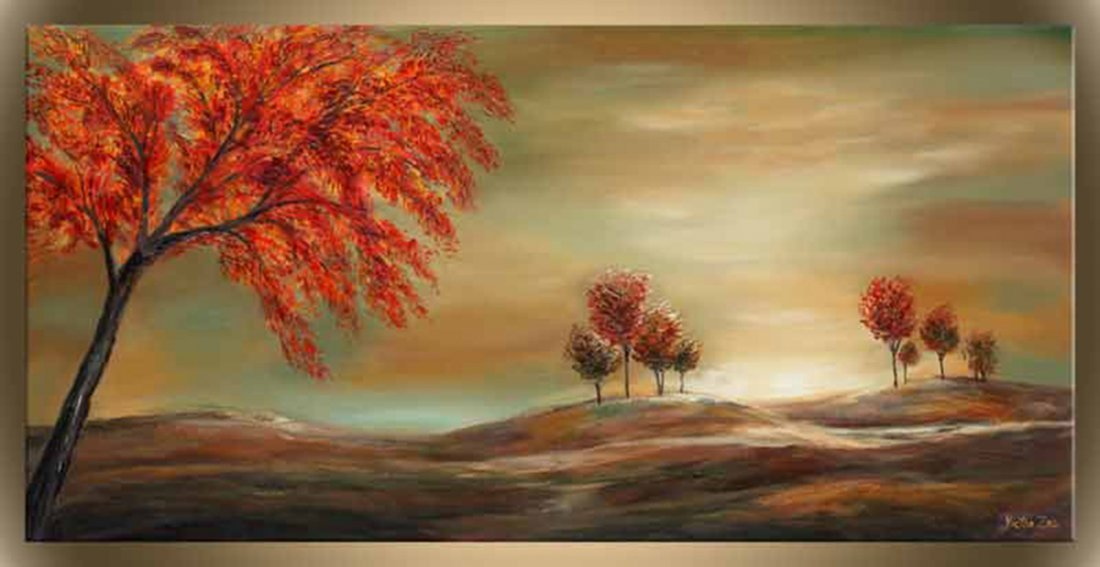 """Victor Zag's """"Red Sunset"""" Giclee Canvas Reproduction"""