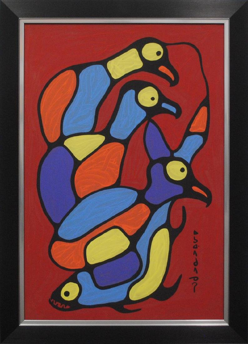 "Norval Morrisseau's ""Birds and Fish Connected"" Original"