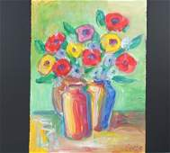 An Original Watercolour of Flowers by Serge