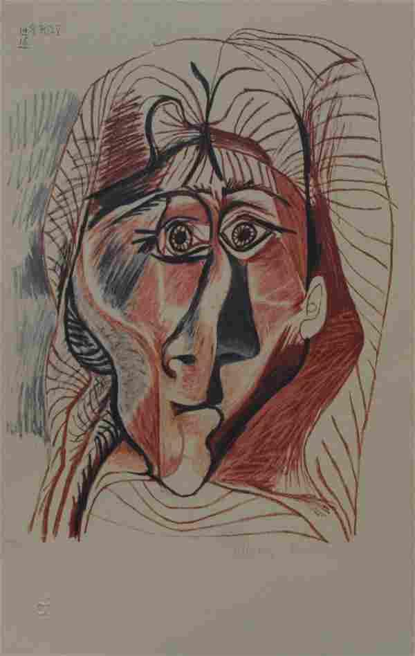 """Pablo Picasso's """"Visage De Femme De Face"""" Lithograph"""