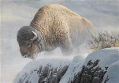 "Robert Bateman's ""Winter Bison"" Limited Edition Canvas"