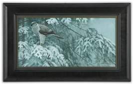 "Robert Bateman's ""Goshawk & Balsam"" Original Painting*"