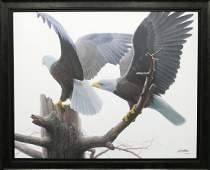 """Robert Bateman's """"Landings - Bald Eagles"""" LE Canvas"""