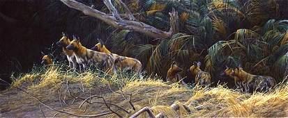"Robert Bateman's ""Painted Dogs"" LE Canvas"
