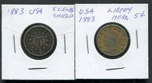 USA 1883 5 Cent Coins