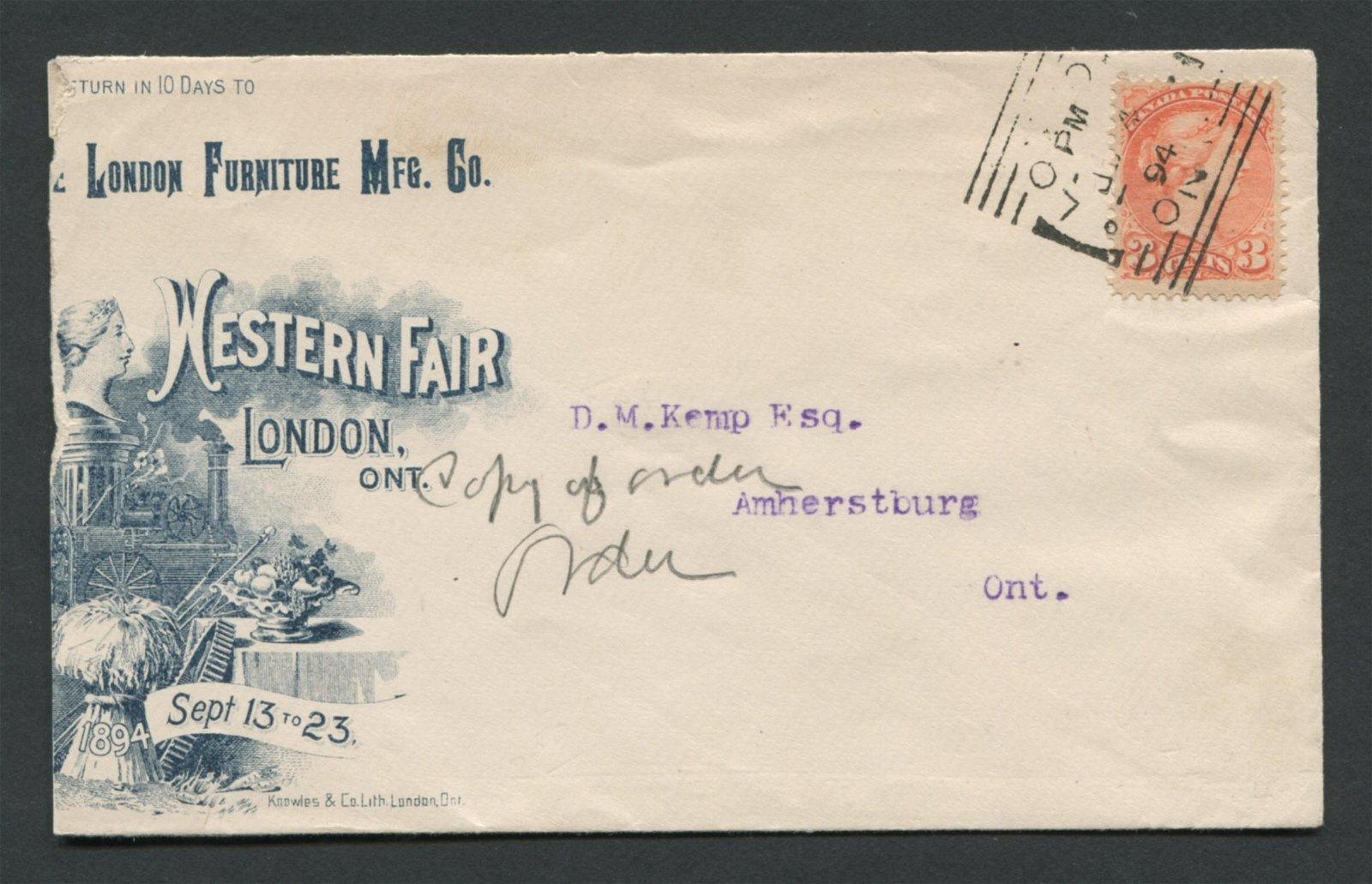 Canada 1894 3c Advertising Cover Stamp RARE