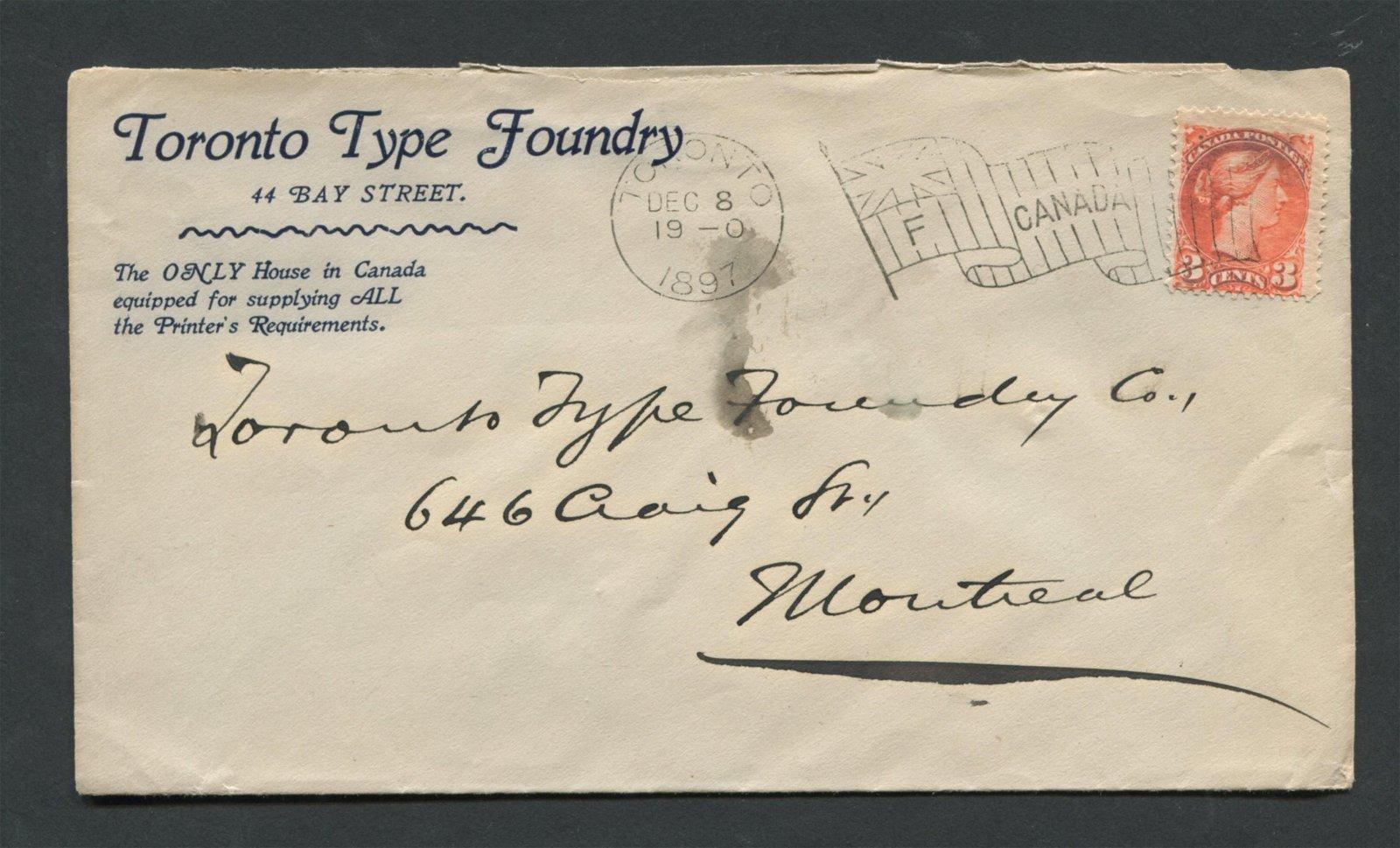 Canada 1897 3c Advertising Cover RARE Stamp