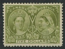 Canada 1897 Jubilee #65 $5 MLH VF