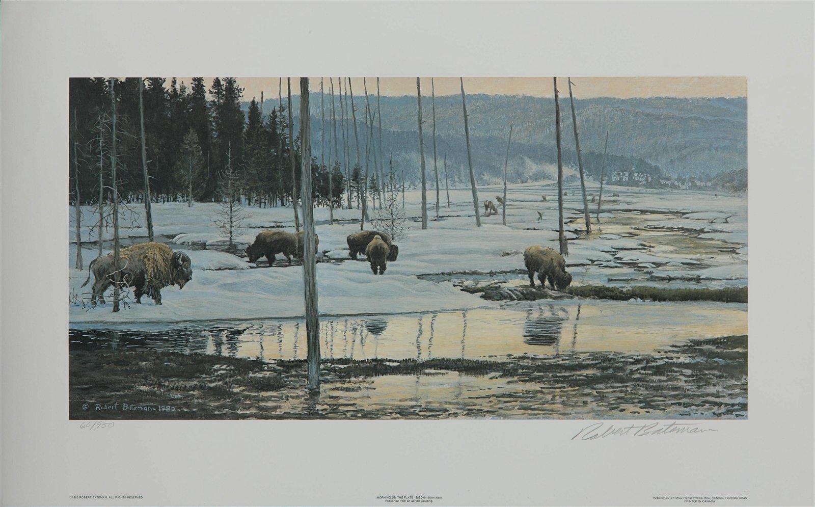 "Robert Bateman's "" Morning on the Flats Bison "" Limited"