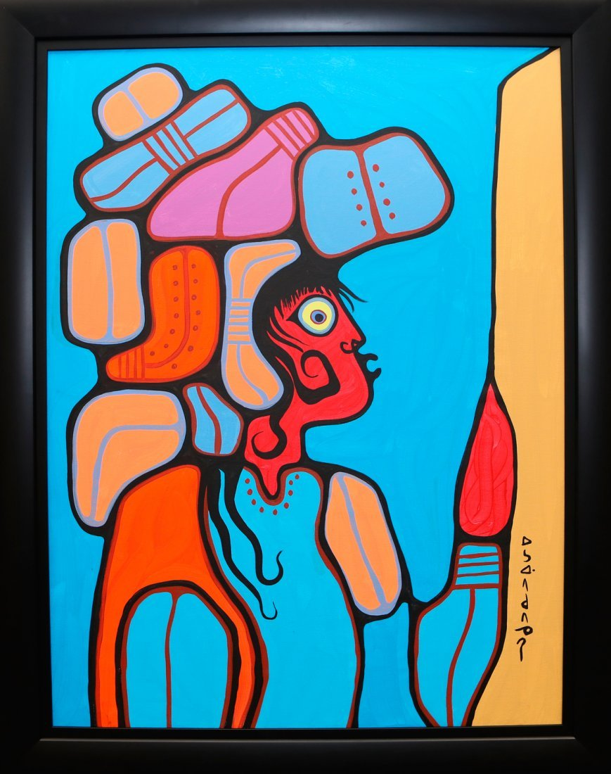 "Norval Morrisseau's ""Young Man With Headdress"" Original"
