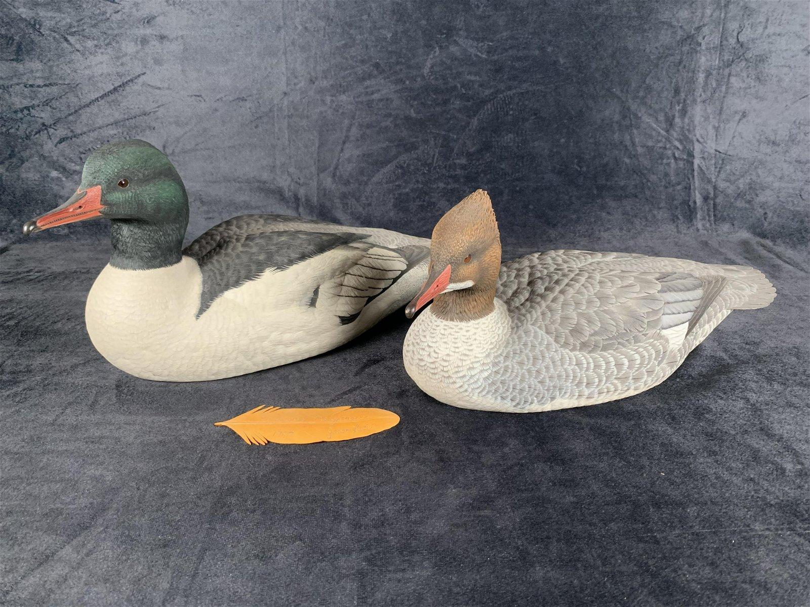 "Jason Lucio's ""Mergansers"" Original Hand Carved Duck"