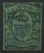 Germany 1859 #5 1/3 Groeschen , Black , Green