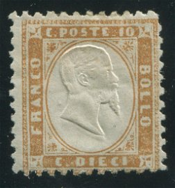 Italy 1862 #17 10 Cent Bister Perf MLH Scarce