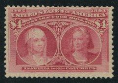 USA 1893 #244 $4 Crimson Lake MNH