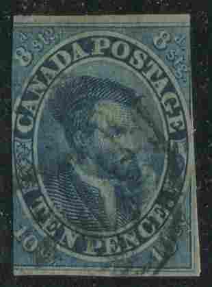 Canada 1855 #7 10p Blue UF