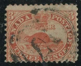 Canada 1858-59 #12 3p Red UF