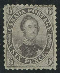 Canada 1859 #13a 6p Gray Violet F UN