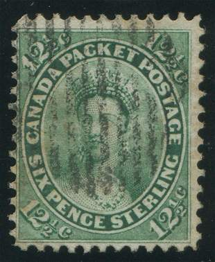 Canada 1859 #18 12 1/2 Cent Yellow Green F