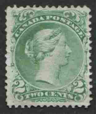 Canada 1868 #24 2c Green VF NG