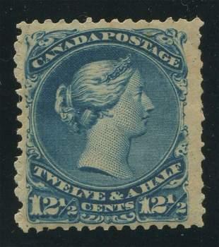 Canada 1868 #28 12 1/2 Cent Blue VF OG