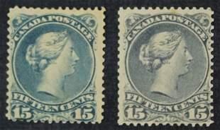 Canada 1868-1875 #30 15 Cent Stamps M OG