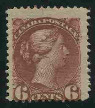 Canada 1890 #43a 6 Cent Chocolate F