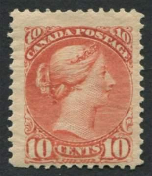 Canada 1897 #45 10c Red Brown F H OG