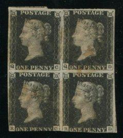 Great Britain 1840 #1 1 Penny Black Imperf Rare Block