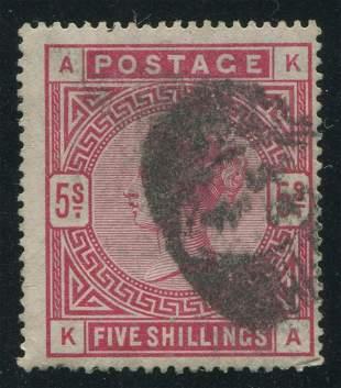 Great Britain 1884 #108 5sh Carmine Rose
