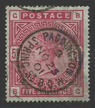 Great Britain 1884 #108a 5sh Car Rose F-VF Bluish Paper