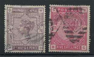 Great Britain Rare Victoria Stamps 1883,1884