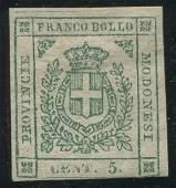 Modena 1859 #10 5c Green F UN